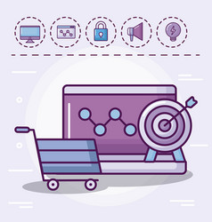Shopping cart with set icons vector