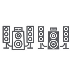 speaker system line and glyph icon audio and vector image