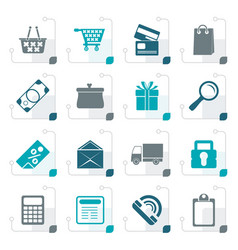 stylized online shop icons vector image