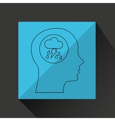 Symbol weather icon silhouette head and rain vector