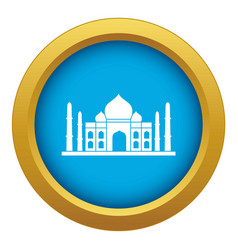 Taj mahal icon blue isolated vector