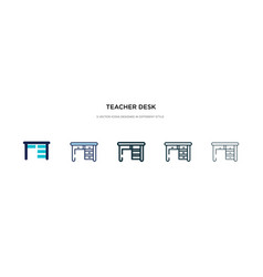 Teacher desk icon in different style two colored vector