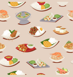 Thai food seamless pattern with thailand cuisine vector