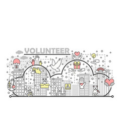 Thin line volunteer poster banner template vector