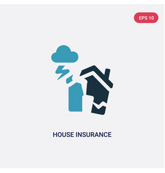 Two color house insurance for storms icon from vector