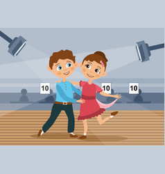Two young children dancing in a competition vector