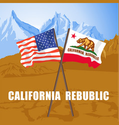Us and california state flags on death valley vector