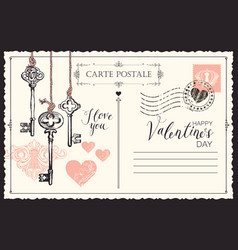 Vintage valentine card with keys to heart vector