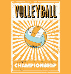 Volleyball typographical vintage style poster vector