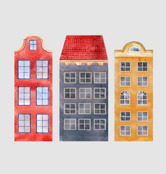 Watercolor city houses vector