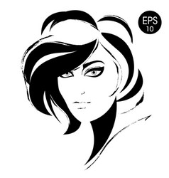woman face black fashion portrait vector image