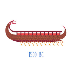 wooden ship with oars wood boat naval transport vector image