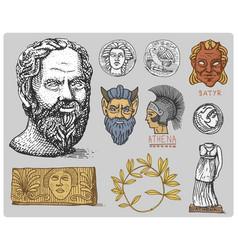 ancient greece antique symbols socrates head vector image vector image