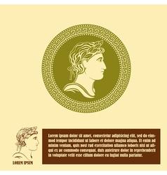 Ancient profile of man logo design template vector image