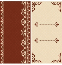brown and beige cards with arabic ornament vector image