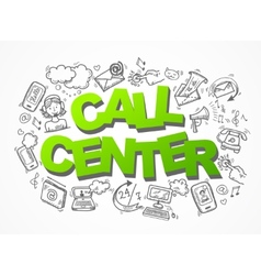Call center sketch icons composition vector image