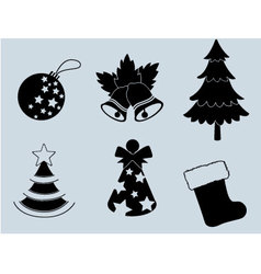 Christmas set of icons collection silhouette 3 vector image vector image