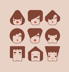 square faces vector image vector image