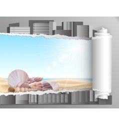 Torn paper with summer background vector