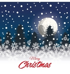 greeting christmas with landscape snowfall graphic vector image vector image
