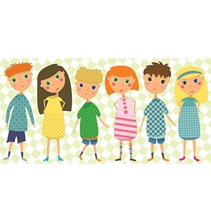 Set of 6 kids in cute clothes vector image vector image
