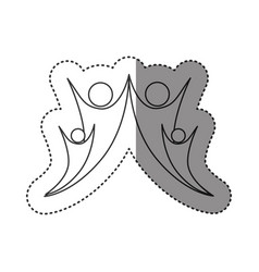 sticker of monochrome abstract contour of happy vector image vector image