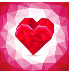 abstract three-dimensional red heart triangles vector image vector image