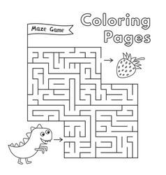 cartoon dinosaur maze game vector image vector image