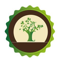 decorative circular emblem with leafy tree plant vector image