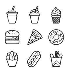 Fast food contour icon set vector