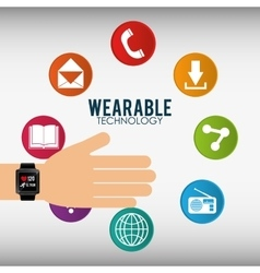 Hand with smart watch wearable technology icon vector