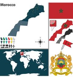 Morocco map world vector image vector image
