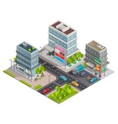 Shopping Center Buildings Complex Isometric Banner vector image vector image