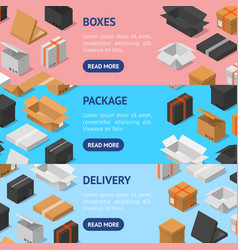 cardboard boxes banner horizontal set isometric vector image