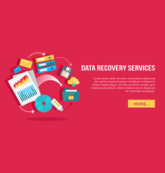 data recovery services set of concept flat icons vector image vector image