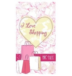 Decorative design card with shopping bags vector
