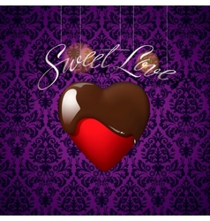 Heart with melted chocolate on floral ornament vector image vector image