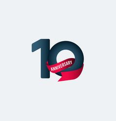 10 years anniversary celebration ribbon gradient vector