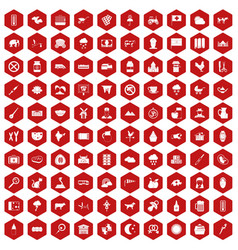 100 cow icons hexagon red vector