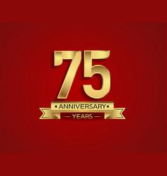 75 years anniversary golden design color vector