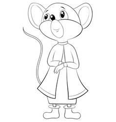 a children coloring bookpage a cute mouse image vector image