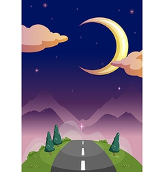 A narrow road and starry night vector