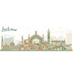 abstract lucknow skyline with color buildings vector image