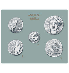 ancient greece antique symbols silver coins tetra vector image