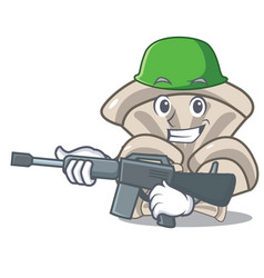 army oyster mushroom character cartoon vector image