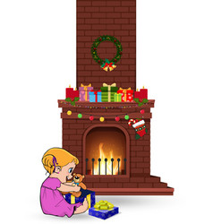 baby girl open gift near decorated christmas fire vector image