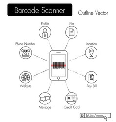 bar code scanner phone scan qr code and get data vector image