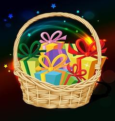Basket full of gift vector