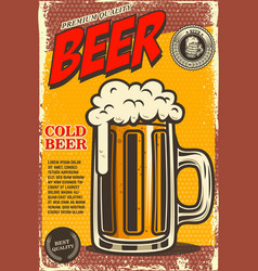 Beer poster in retro style beer objects on grunge vector