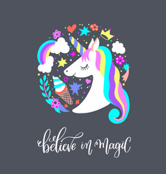Believe in magic - art poster with unicorn vector